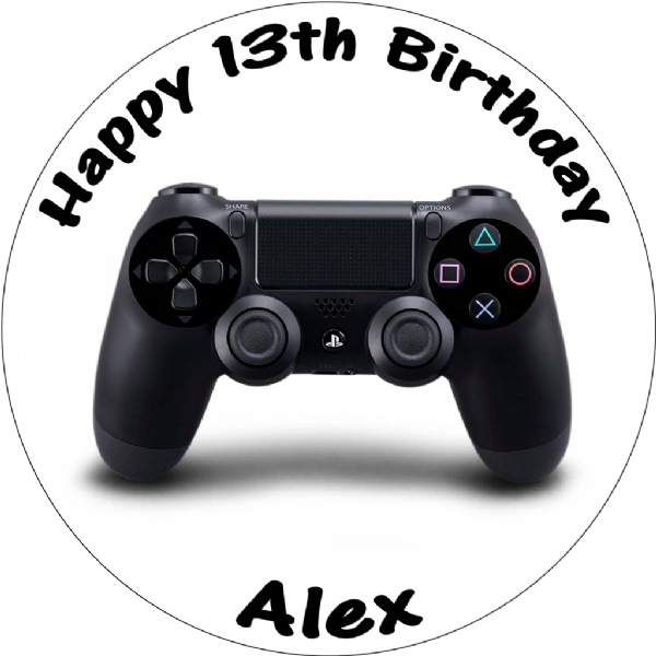 PLAYSTATION 4 CONTROLLER PERSONALISED ROUND EDIBLE CAKE TOPPER